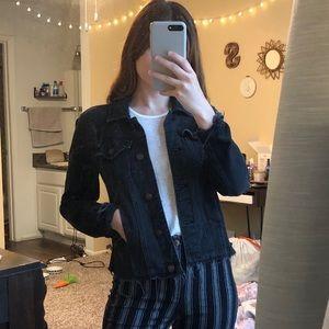 Cropped Black Jean Jacket